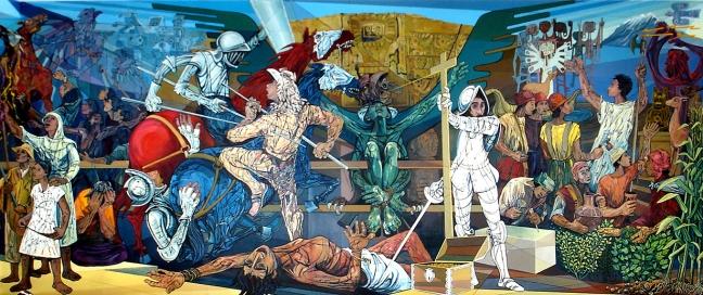 El Retrato de un Pueblo, piroxilina, Salón de Honor Universidad Mayor de San Andrés, La Paz, Bolivia, 1996-1998