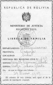 Libreta de familia Trujillo Oroza