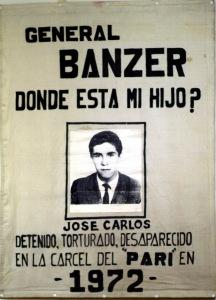 Cartel que Gladys Oroza de Solón utilizará en la búsqueda de su hijo detenido desaparecido durante la dictadura de Banzer.