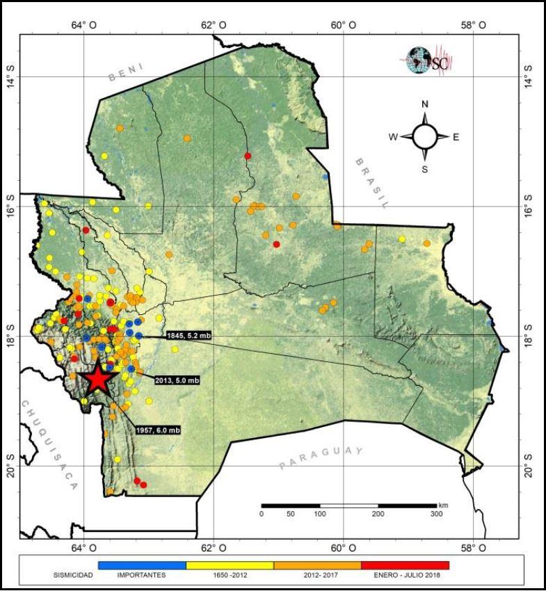 mapa zona sismo valles cruceños historial